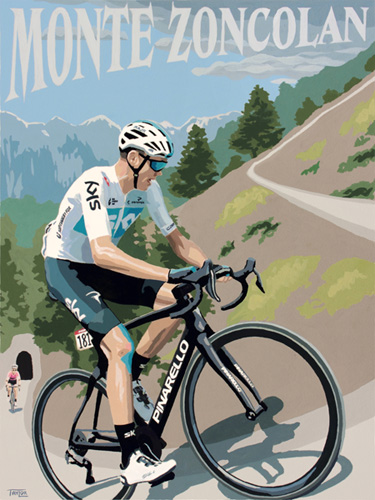Chris Froome on Monte Zoncolan, painting by Simon Taylor